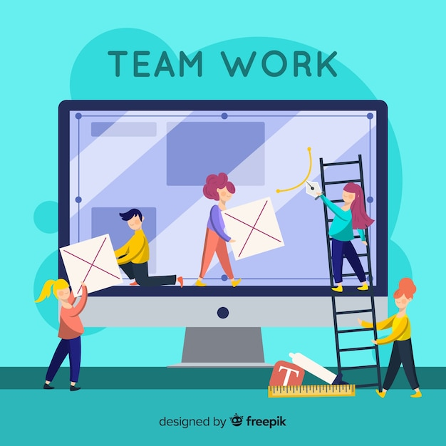 Team sharing to make graphic design Free Vector
