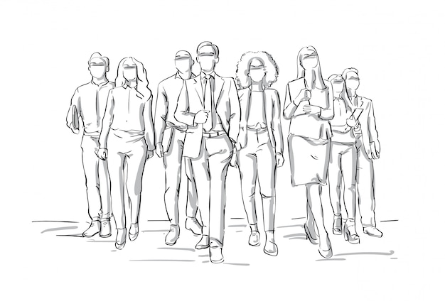 Team of sketch businesspeople walking businessmen leading bsuiness people group leadership concept Premium Vector