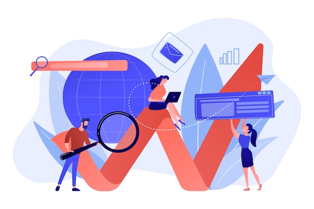 Team of specialists with magnifier and laptop and arrow. digital marketing, ppc campaign, customer relationships concept on white background. Free Vector