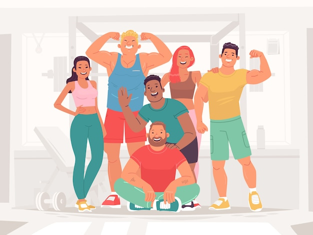 Team of sports happy men and women in the gym. people leading a healthy and active lifestyle. fitness girls, bodybuilders, athletes and powerlifters. vector illustration in flat style Premium Vector