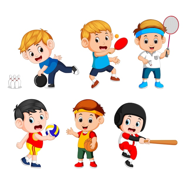 Team sports for kids including basketball Premium Vector