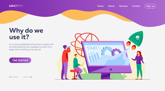 Team starting project landing page template Free Vector