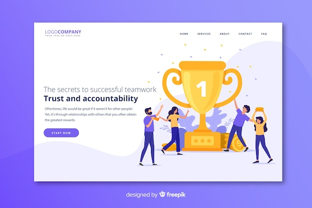 Team success landing page Free Vector