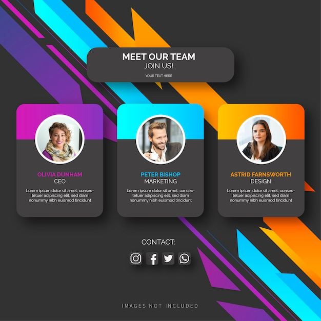 Team template with abstract shapes Free Vector