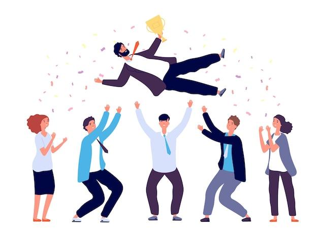 팀 던지기 남자 공기. 성공 승리를 축하하는 비즈니스 사람들이 그룹. 프리미엄 벡터