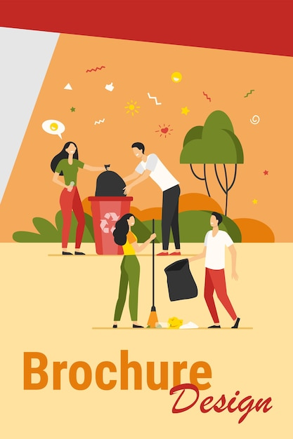Team of volunteers cleaning park from garbage. happy young people collecting trash outdoors. vector illustration for volunteering community, nature care, ecology concept Free Vector