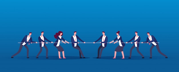 Team war. business people rivals pulling rope. competition, conflict in office vector concept Premium Vector