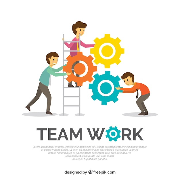 Team work background in flat style Free Vector