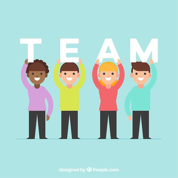 Team work background with people holding letters Free Vector
