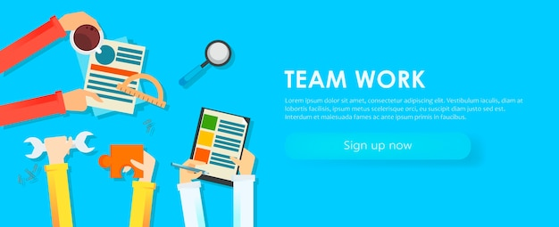 Team work banner. hands with objects, document, coffee, puzzle. Free Vector