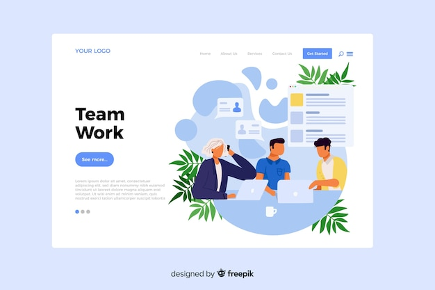Team work concept for landing page Free Vector