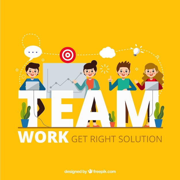 Team work concept with flat design Free Vector