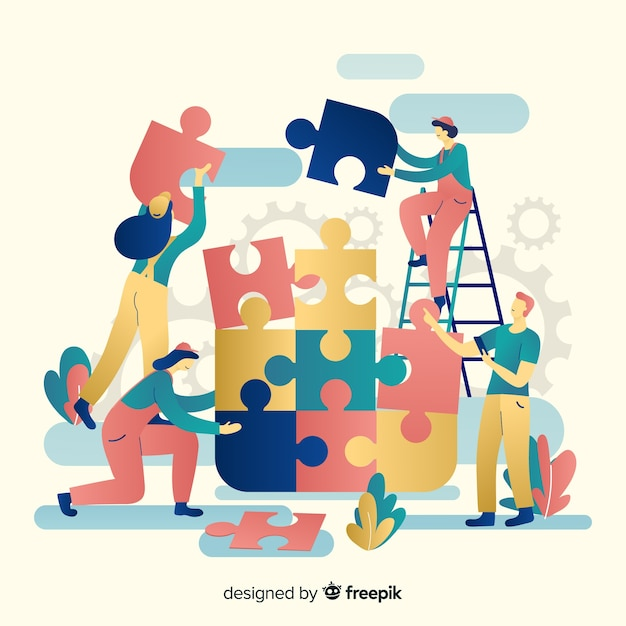 Team work connecting puzzle pieces background Free Vector