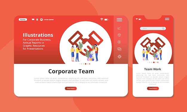 Team work illustration on the screen for web or mobile display. Premium Vector
