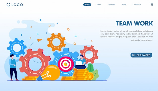 Team work landing page template Premium Vector