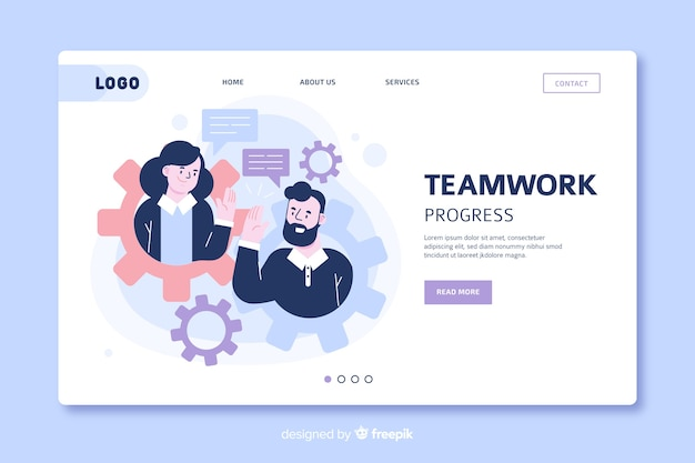 Team work landing page template Free Vector