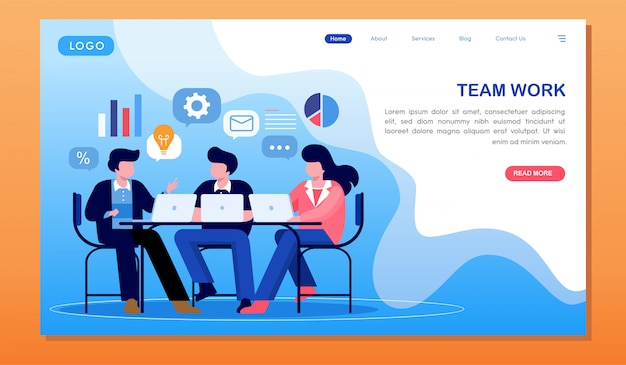 Team work marketing research and analyzing website landing page Premium Vector