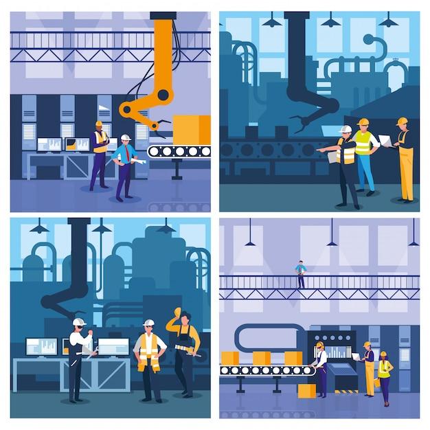 Team work people in factory scene Premium Vector