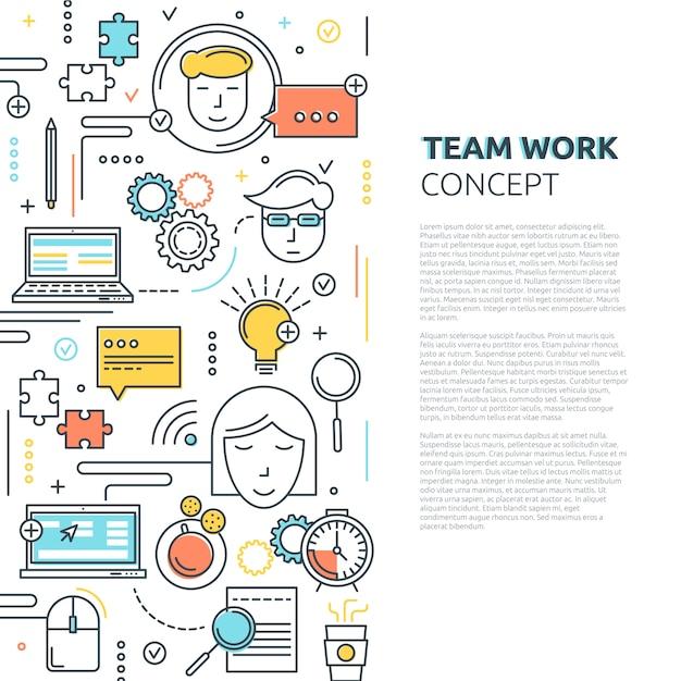 Team work vertical linear concept Premium Vector