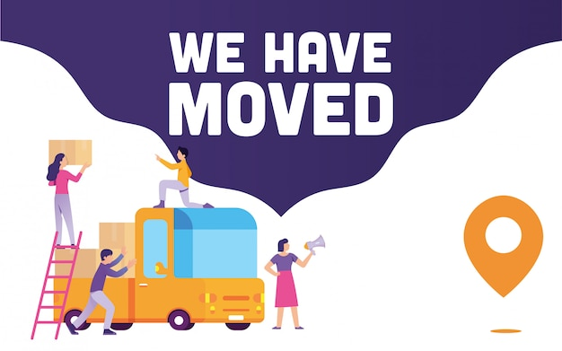 Team worker announce with megaphone they're moving to a new place with we have moved title banner Premium Vector