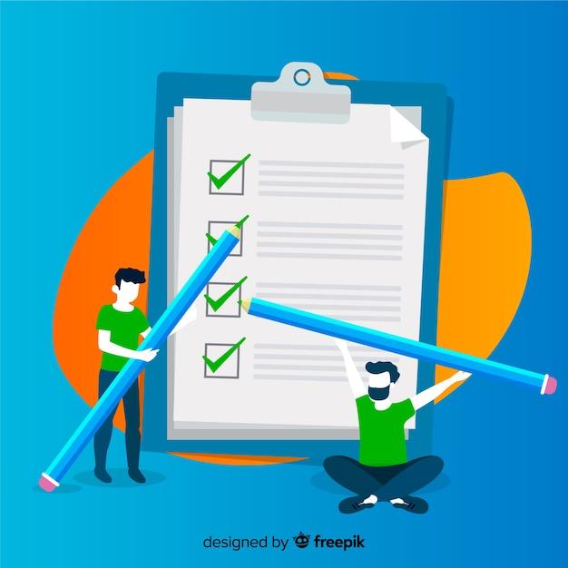 Team working on checklist background Free Vector