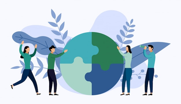 Team working, people connecting puzzle elements Premium Vector