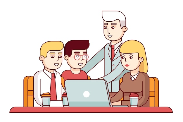 Team of young employees Free Vector