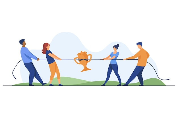 Teams competing for prize. people playing tug-of-war, pulling rope with golden cup flat vector illustration. competition, contest concept Free Vector
