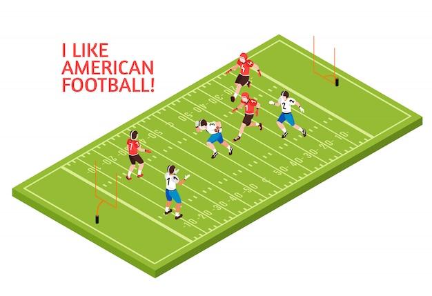 アメリカンフットボール中に選手のチームは緑のプレイフィールドアイソメ図に一致します。 無料ベクター