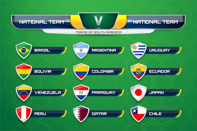 Teams of south america for soccer Premium Vector