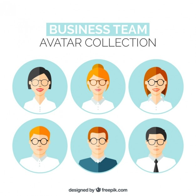 Teamwork avatars in flat design