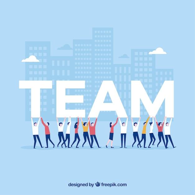 Teamwork background in flat design Free Vector
