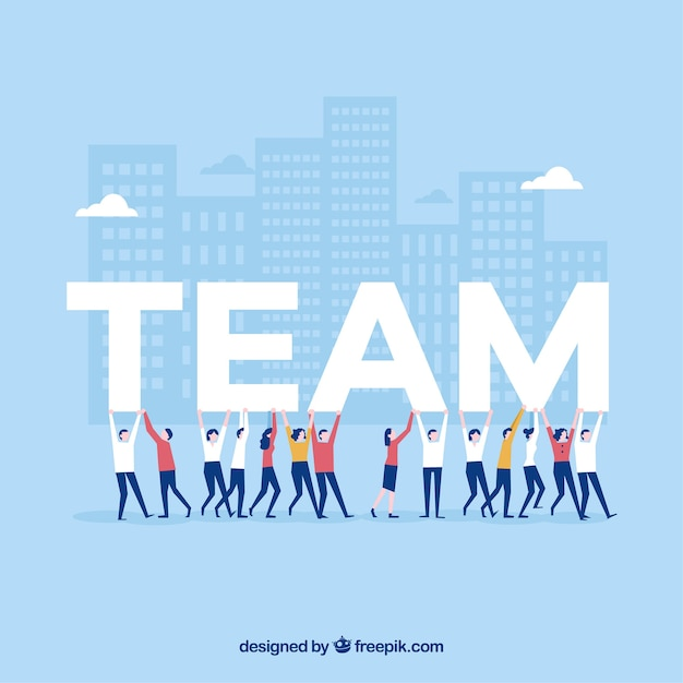 Teamwork background in flat design Free Vector