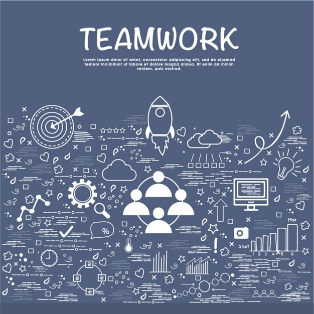 Teamwork background with hand-drawn business objects Premium Vector