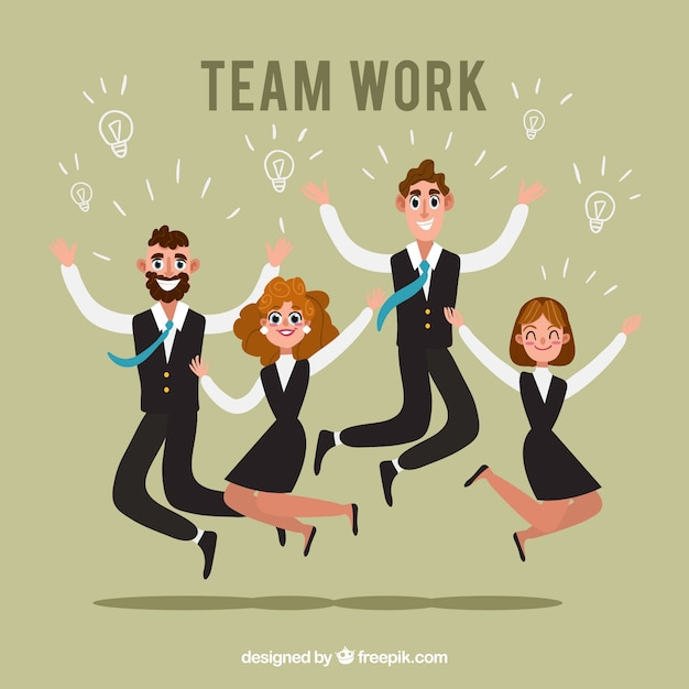 Teamwork background with jumping business\ people