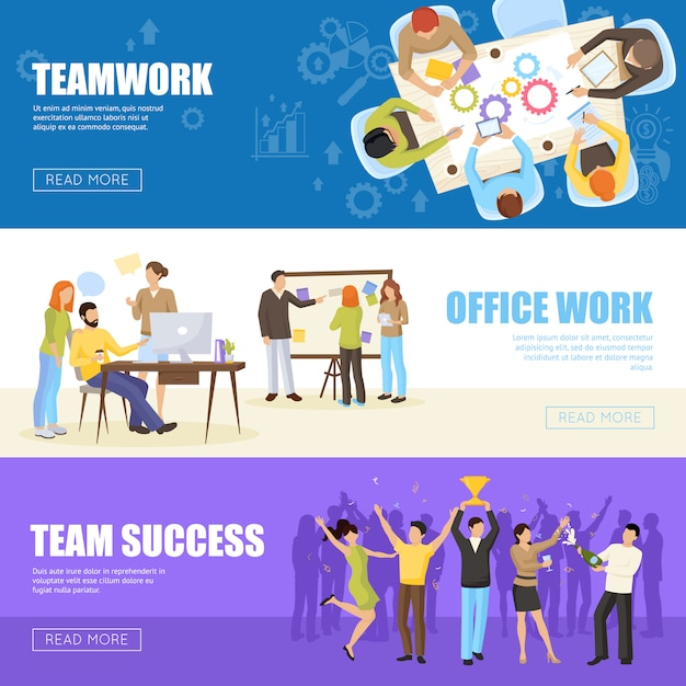 Teamwork banners set Free Vector