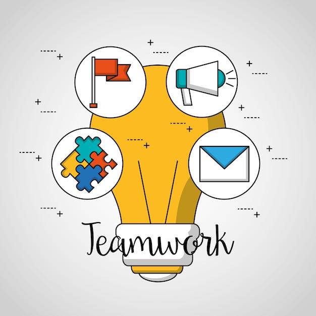 Teamwork big bulb stickers puzzle megaphone flag message Premium Vector