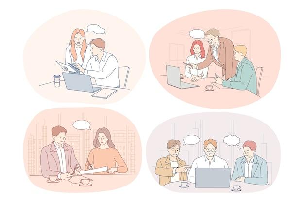 チームワーク、ブレーンストーミング、ディスカッション、ビジネス、スタートアップ、交渉のコンセプト。 Premiumベクター