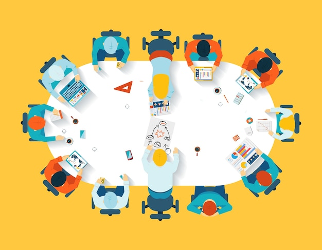 Teamwork. business brainstorming top view. office team, meeting  table, people and company Free Vector
