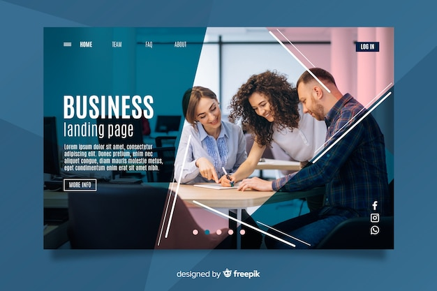 Teamwork business landing page Free Vector