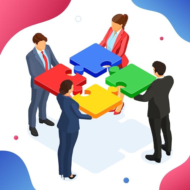 Работа в команде деловых мужчин и женщин. партнерское сотрудничество. пазлы инфографики. изображения героев b2b. изометрический Premium векторы