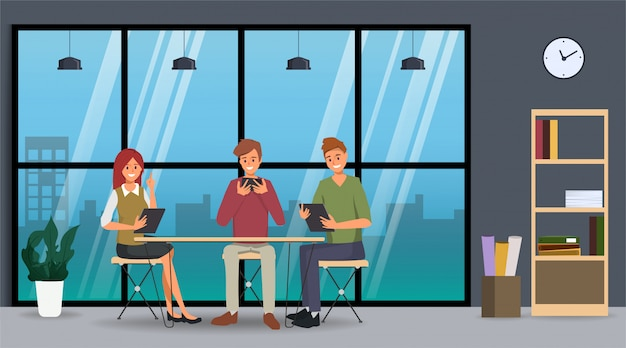 Teamwork of business people co working. business character in office. Premium Vector
