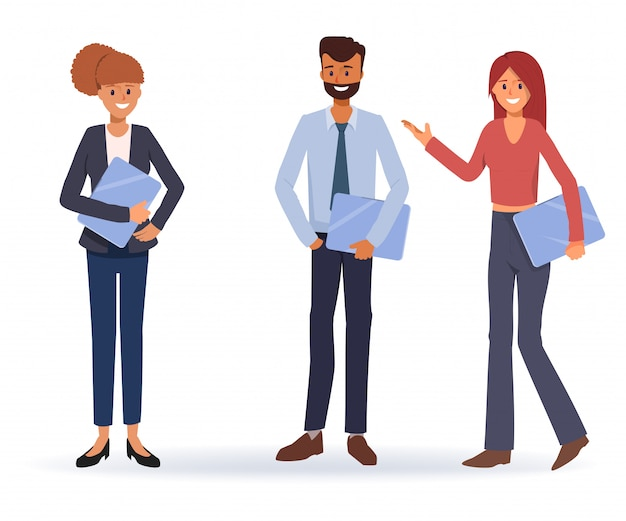 Teamwork of business people co working Premium Vector