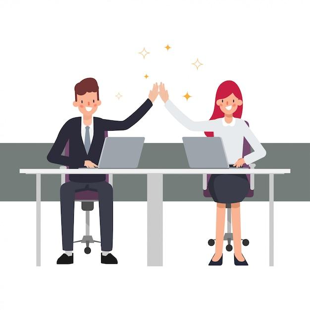 Teamwork business people colleague co working successful business job. businessman and businesswoman enjoying. Premium Vector