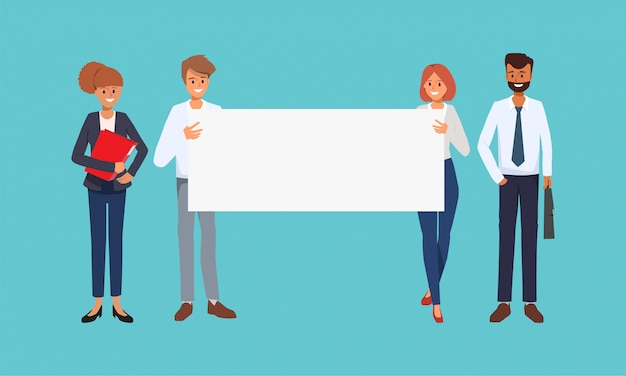 Teamwork business people holding a big banner. Premium Vector