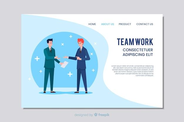 Teamwork business web template in flat design Free Vector