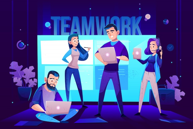Teamwork characters, operator and crew in front of screen for presentations. Free Vector