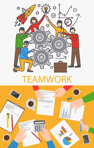 Teamwork concept. business people with gears and businesspeople hands on table. vector illustration Premium Vector