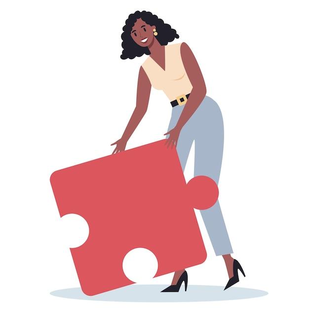 Концепция совместной работы. деловая женщина, держащая кусок головоломки. сотрудничество сотрудников, общение и решение. Premium векторы