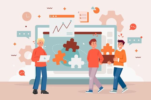 Teamwork concept illustration Free Vector